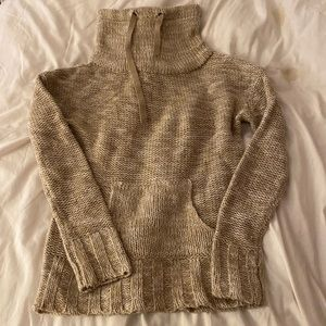 Cowl neck knit sweater with drawstrings
